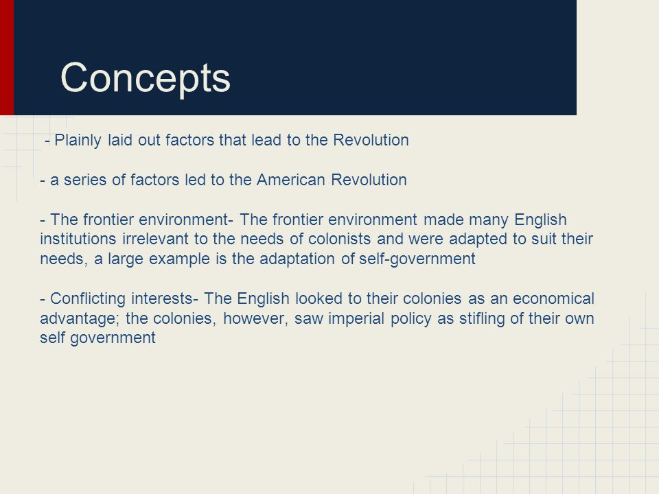 Concepts - Plainly laid out factors that lead to the Revolution