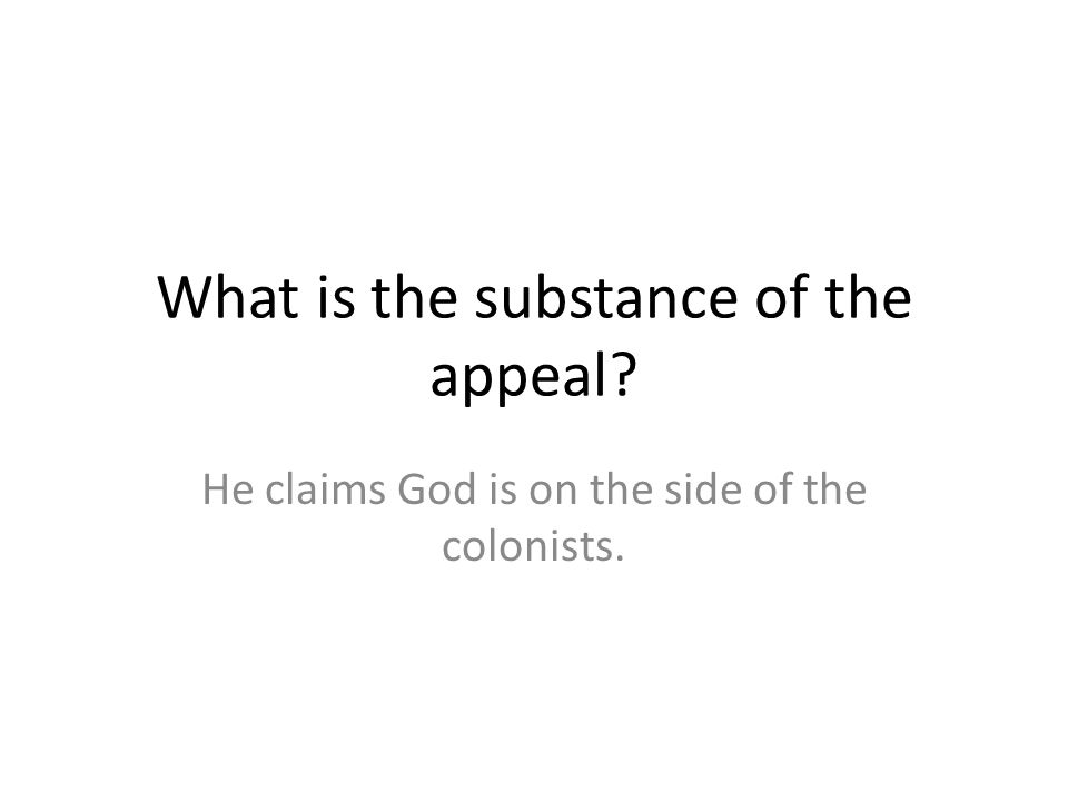 What is the substance of the appeal