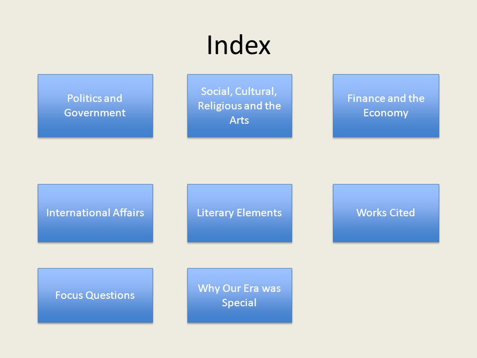 Index Politics and Government Social, Cultural, Religious and the Arts