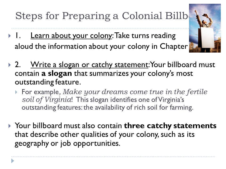 Steps for Preparing a Colonial Billboard