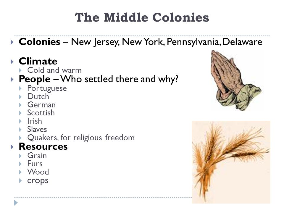 The Middle Colonies Colonies – New Jersey, New York, Pennsylvania, Delaware. Climate. Cold and warm.