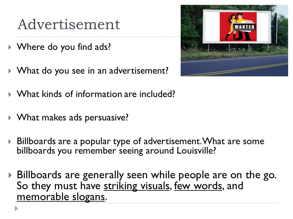 Advertisement Where do you find ads What do you see in an advertisement What kinds of information are included