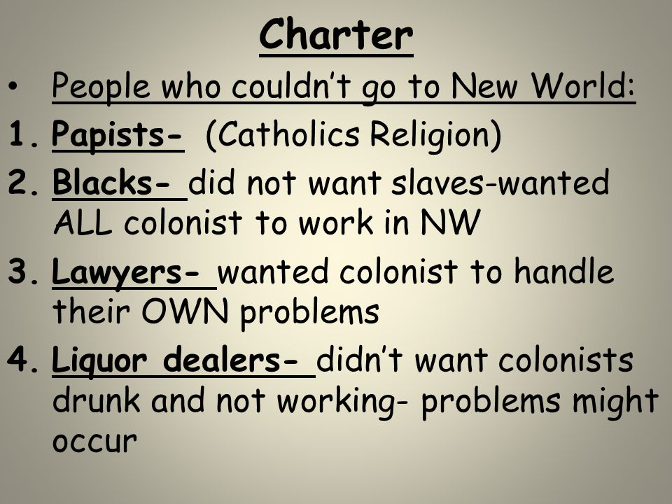 Charter People who couldn't go to New World: