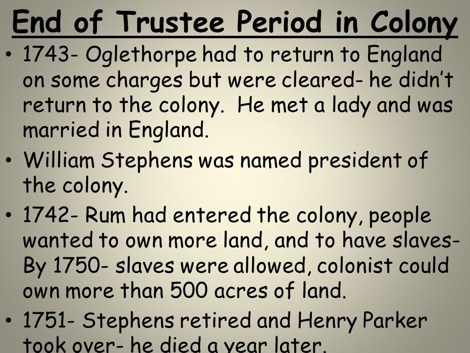End of Trustee Period in Colony