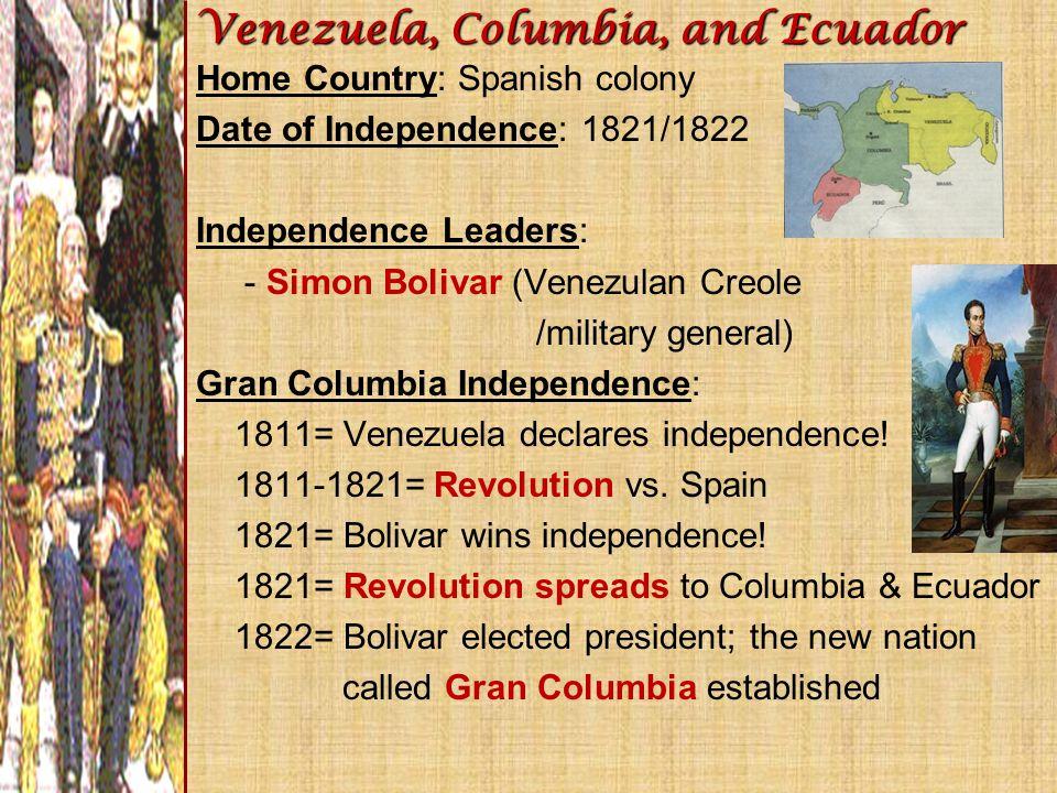 Venezuela, Columbia, and Ecuador