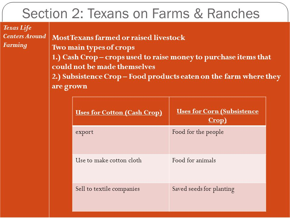 Section 2: Texans on Farms & Ranches
