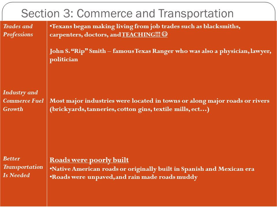 Section 3: Commerce and Transportation