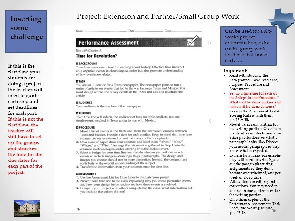 Project: Extension and Partner/Small Group Work