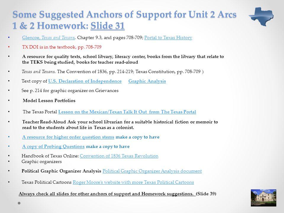 Some Suggested Anchors of Support for Unit 2 Arcs 1 & 2 Homework: Slide 31