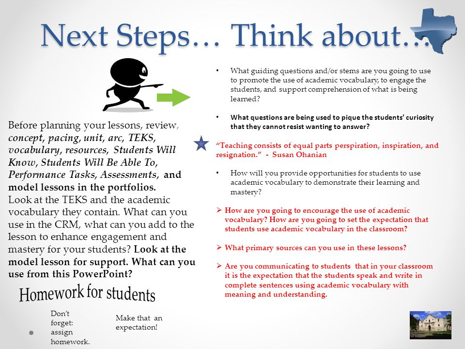 Next Steps… Think about…
