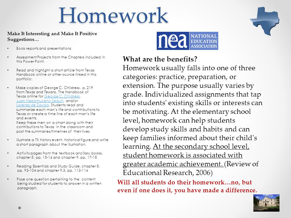 Homework Make It Interesting and Make It Positive. Suggestions… Book reports and presentations.