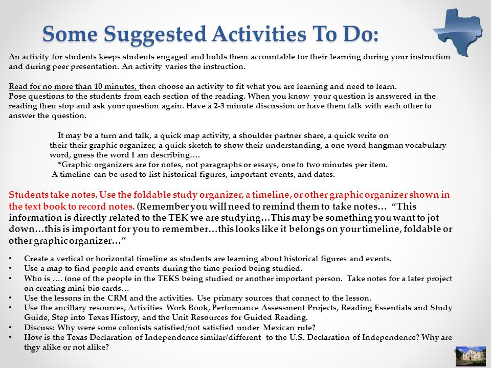 Some Suggested Activities To Do: