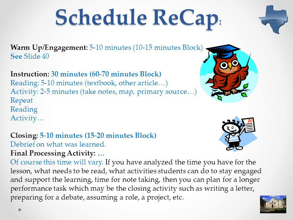 Schedule ReCap: Warm Up/Engagement: 5-10 minutes (10-15 minutes Block)