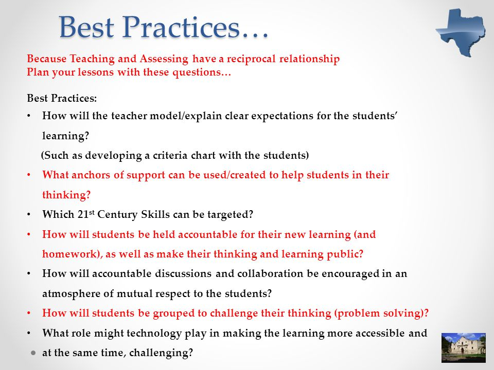 Best Practices… Because Teaching and Assessing have a reciprocal relationship. Plan your lessons with these questions…