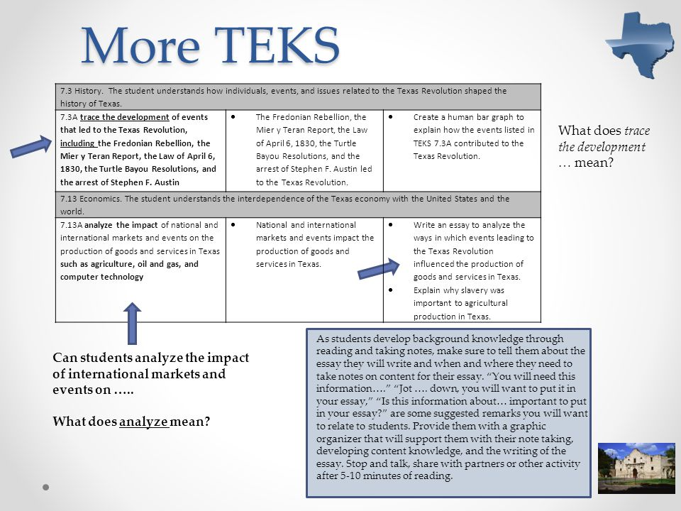 More TEKS What does trace the development … mean