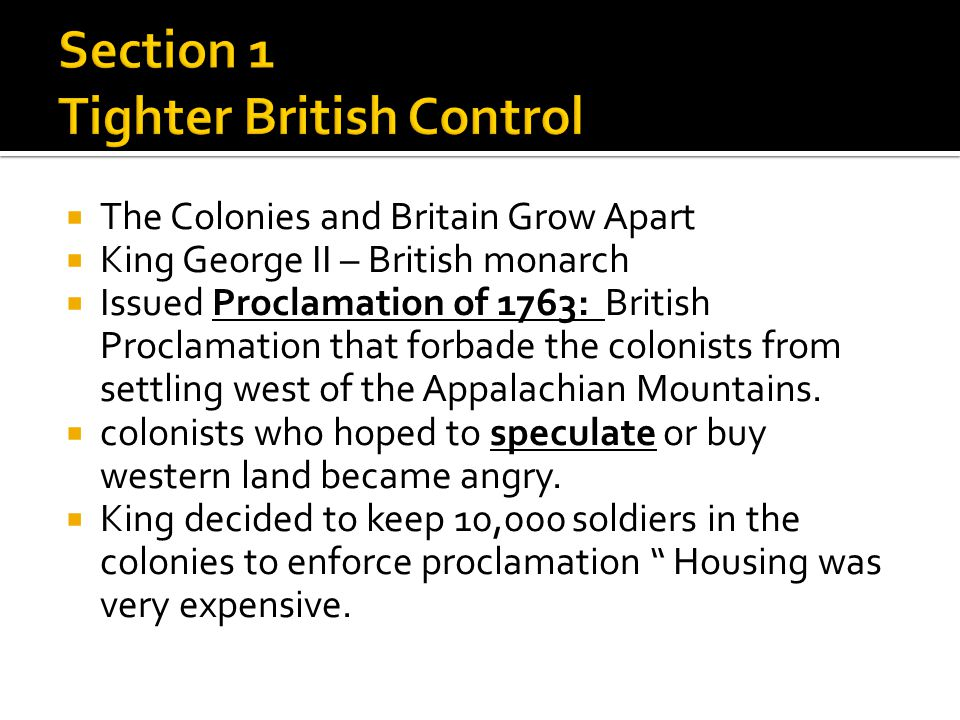 Section 1 Tighter British Control