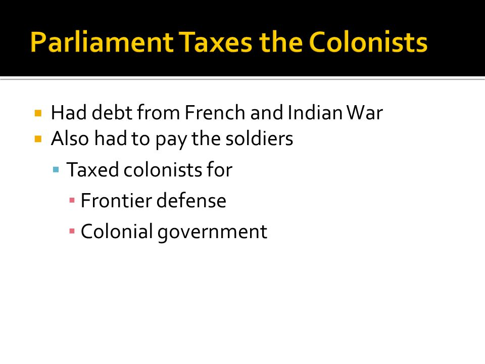 Parliament Taxes the Colonists