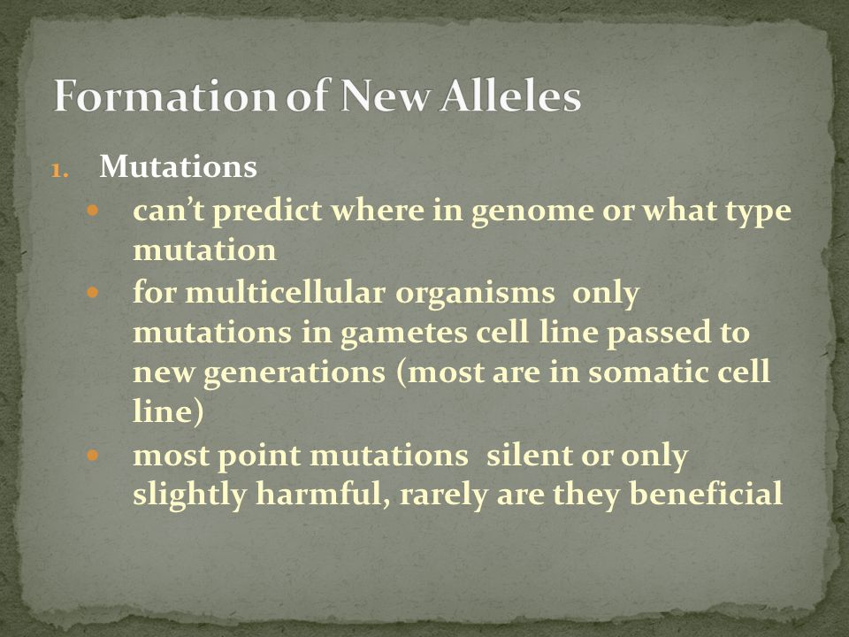 Formation of New Alleles