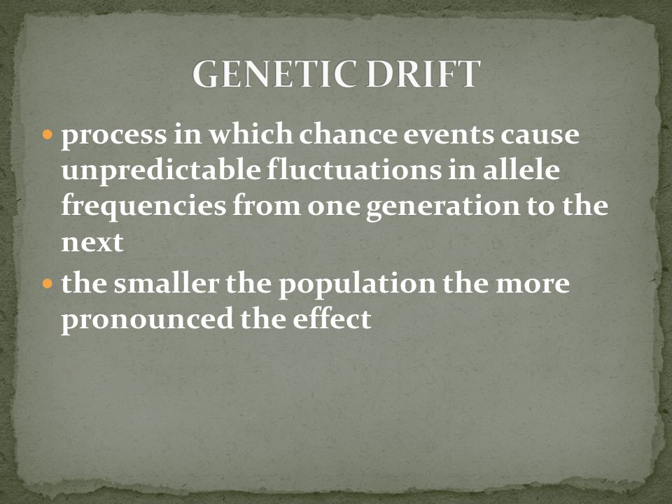 GENETIC DRIFT process in which chance events cause unpredictable fluctuations in allele frequencies from one generation to the next.
