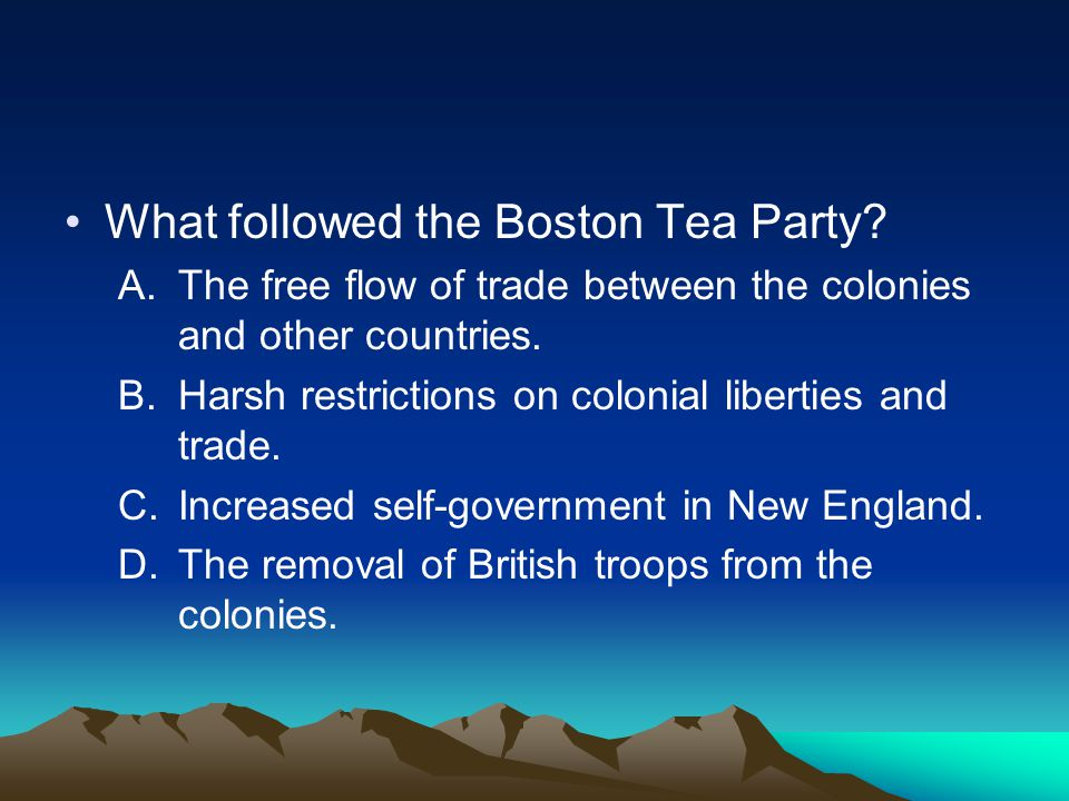 What followed the Boston Tea Party