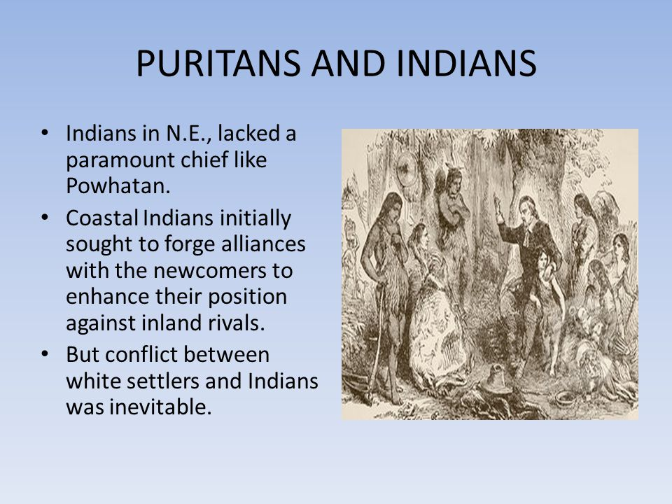 PURITANS AND INDIANS Indians in N.E., lacked a paramount chief like Powhatan.