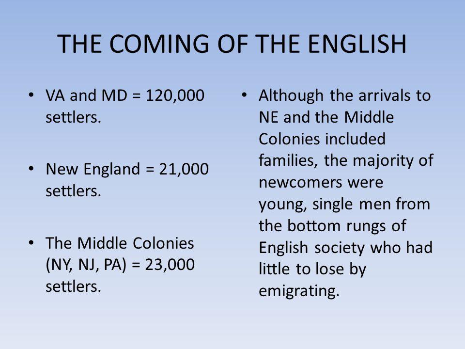 THE COMING OF THE ENGLISH