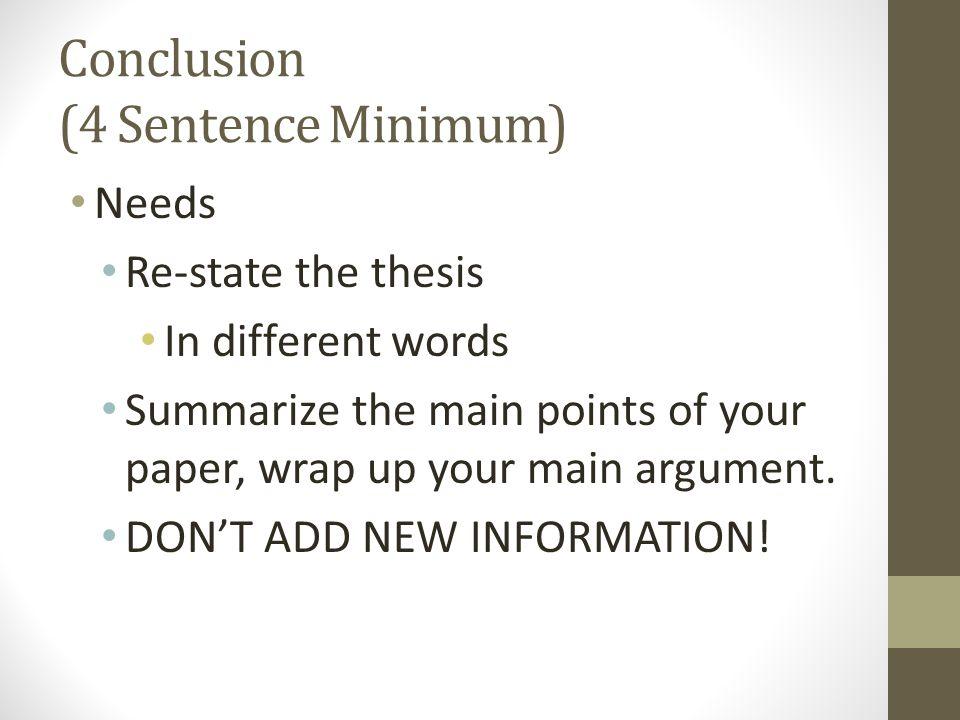 Conclusion (4 Sentence Minimum)