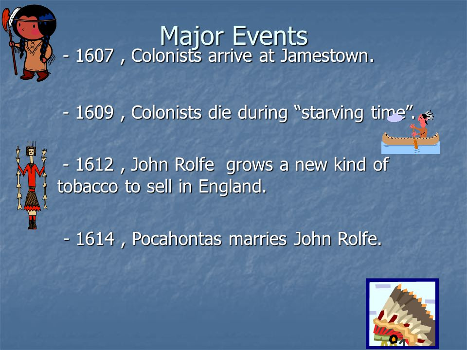 Major Events - 1607 , Colonists arrive at Jamestown.