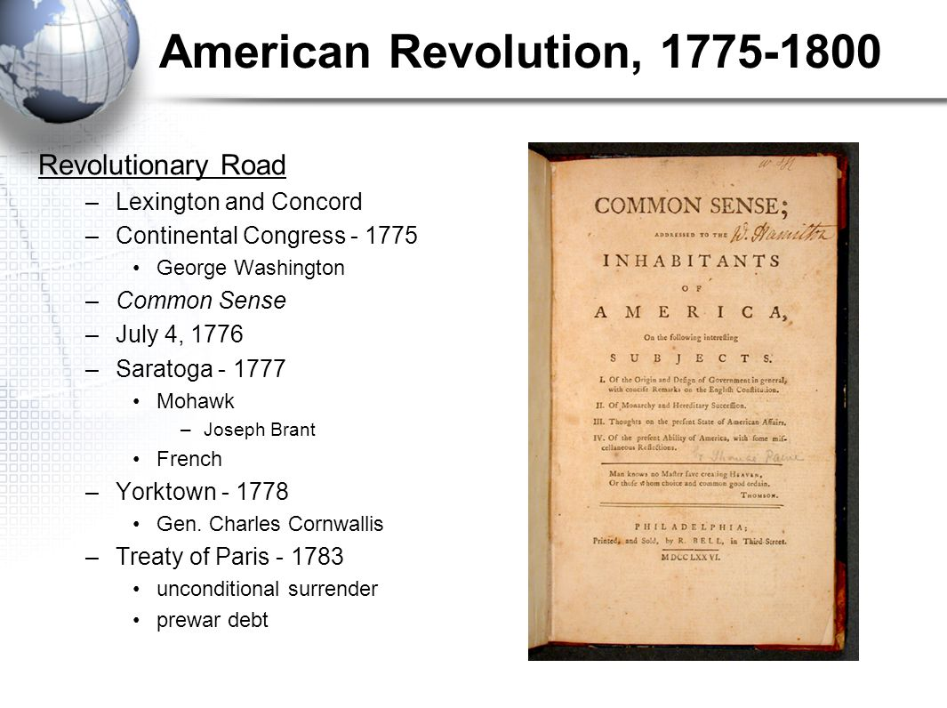 American Revolution, 1775-1800 Revolutionary Road