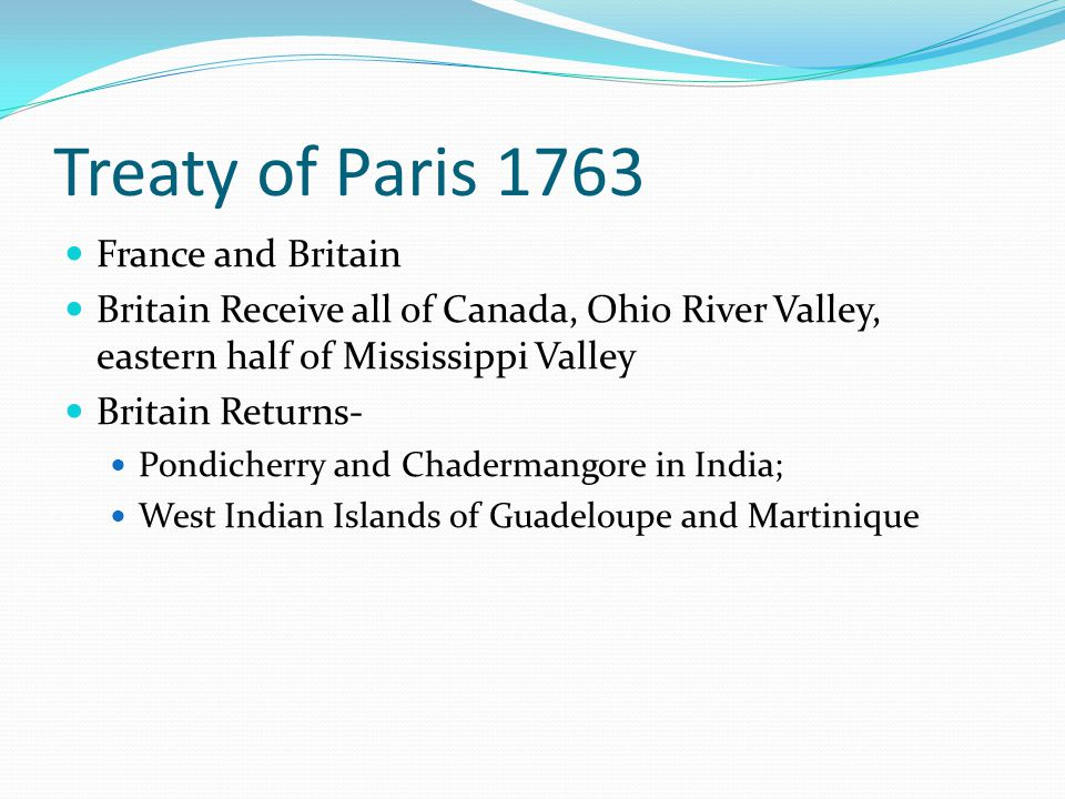 Treaty of Paris 1763 France and Britain