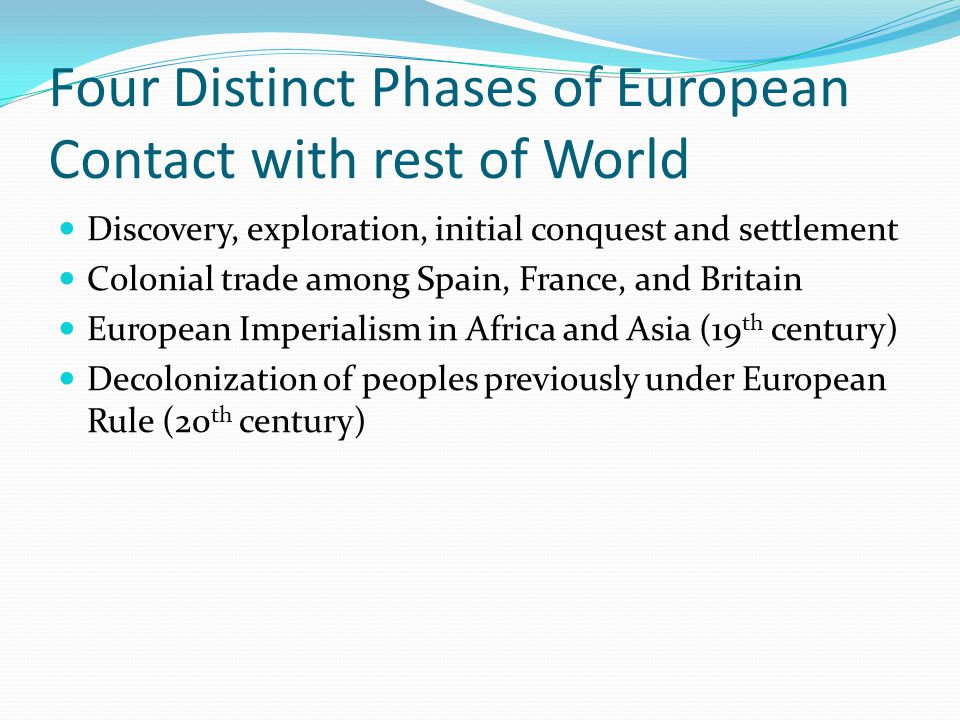 Four Distinct Phases of European Contact with rest of World