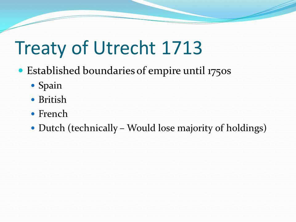 Treaty of Utrecht 1713 Established boundaries of empire until 1750s