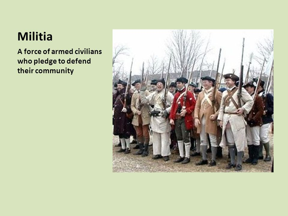 Militia A force of armed civilians who pledge to defend their community