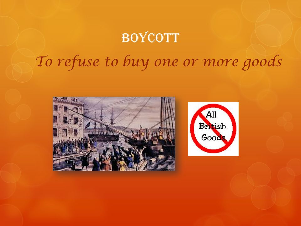 To refuse to buy one or more goods