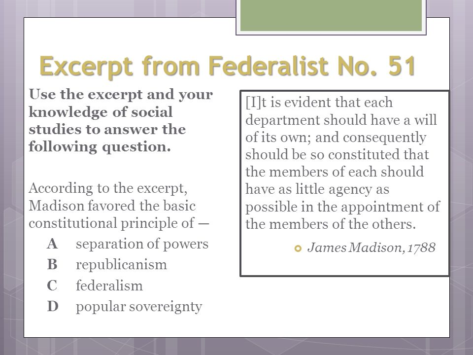 the federalist papers the constitution and separation of powers (all citing madison or madison's federalist papers essays to support separation of powers arguments) 13 see, eg, harold h bruff, on the constilutional status of the administrative agencies, 36.