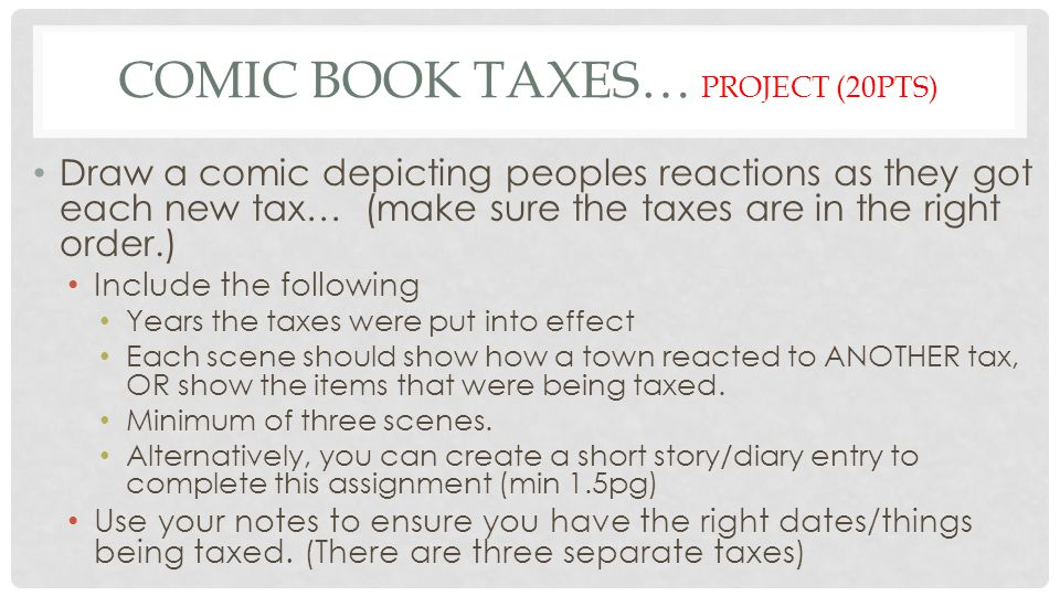 Comic Book Taxes… Project (20pts)