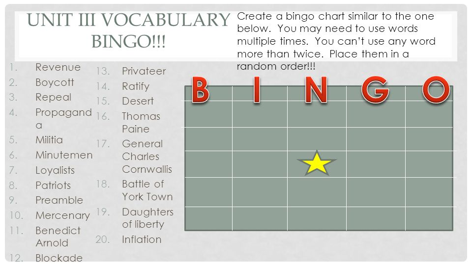 Unit III Vocabulary Bingo!!!