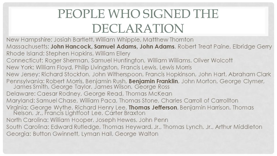People who Signed the Declaration