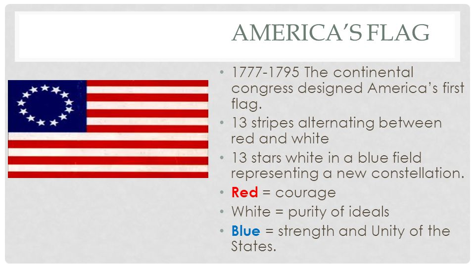 America's Flag 1777-1795 The continental congress designed America's first flag. 13 stripes alternating between red and white.