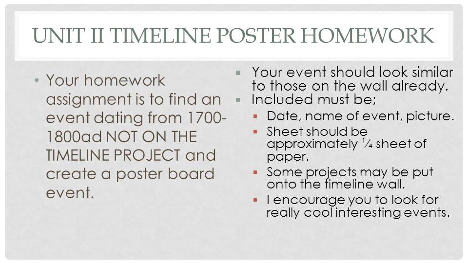 Unit II Timeline Poster Homework