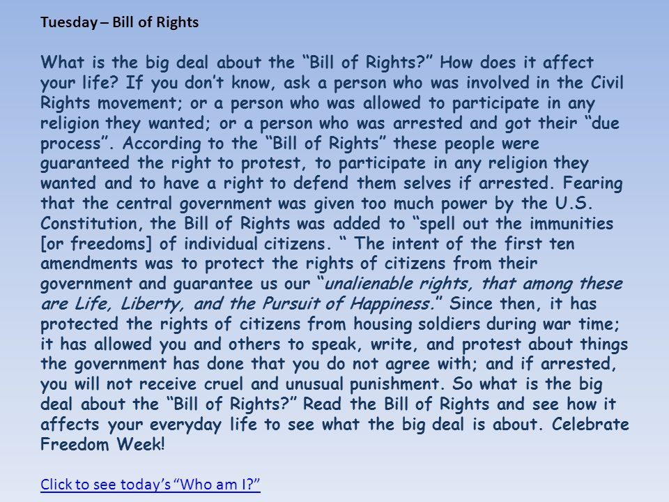 Tuesday – Bill of Rights