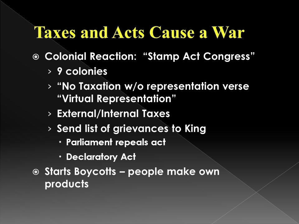 Taxes and Acts Cause a War