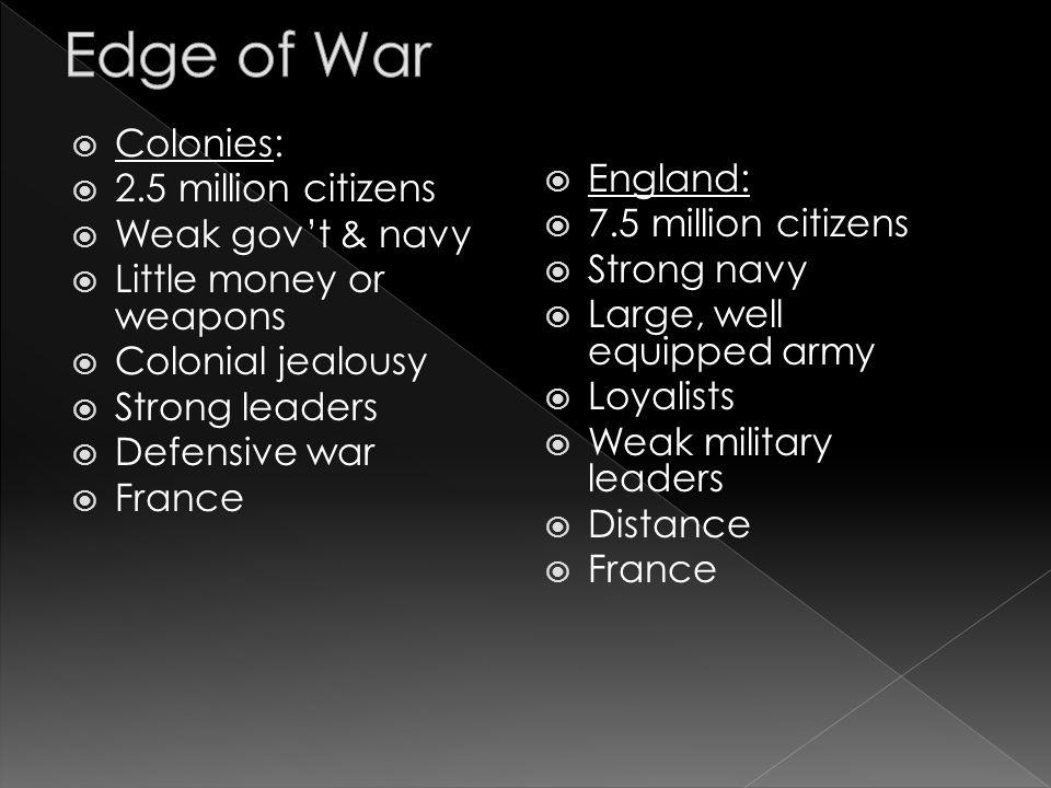 Edge of War Colonies: 2.5 million citizens England: Weak gov't & navy