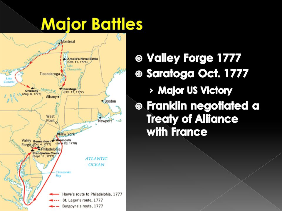 Major Battles Valley Forge 1777 Saratoga Oct. 1777