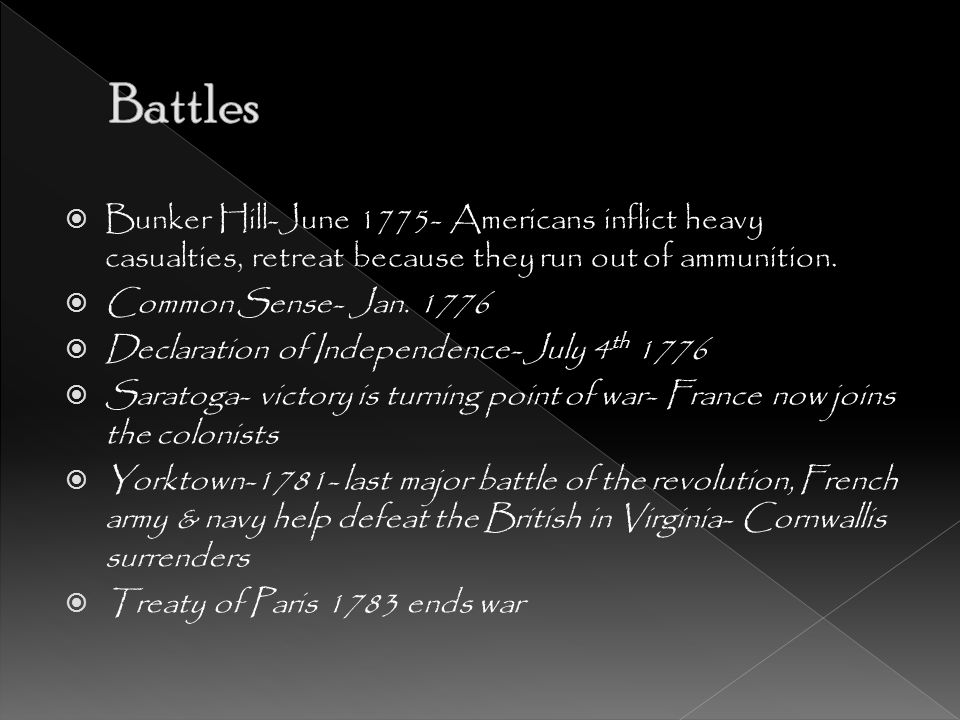 Battles Bunker Hill-June 1775- Americans inflict heavy casualties, retreat because they run out of ammunition.