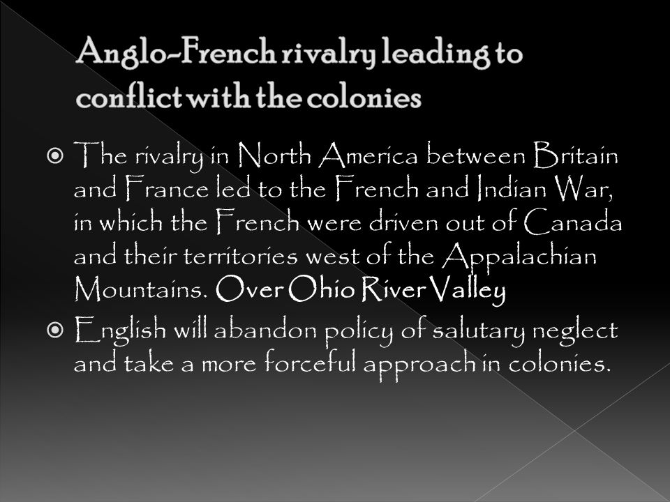 Anglo-French rivalry leading to conflict with the colonies