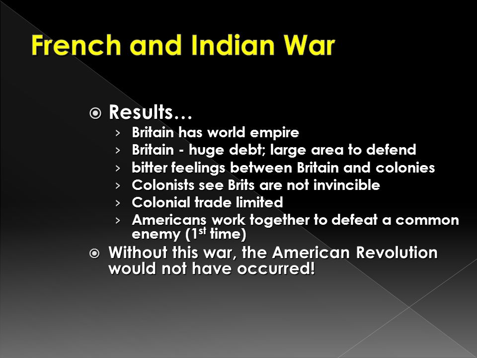 French and Indian War Results…