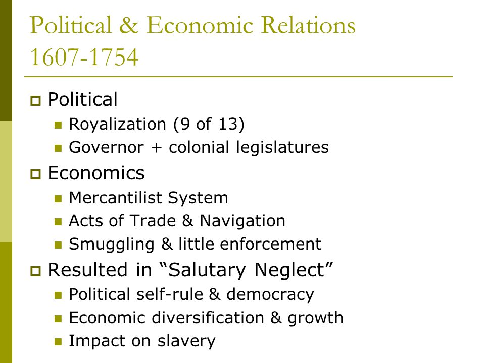 Political & Economic Relations 1607-1754