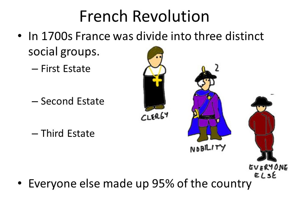 French Revolution In 1700s France was divide into three distinct social groups. First Estate. Second Estate.