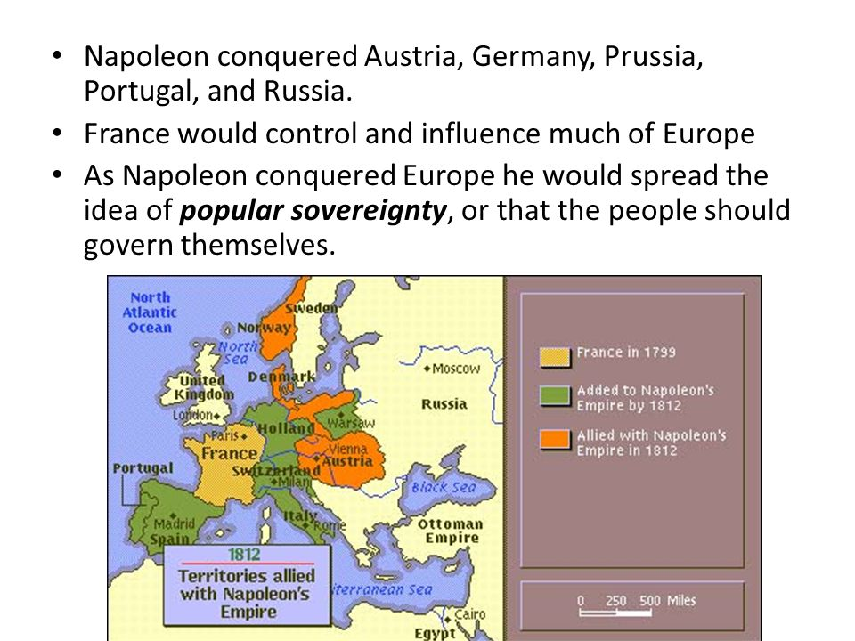 Napoleon conquered Austria, Germany, Prussia, Portugal, and Russia.